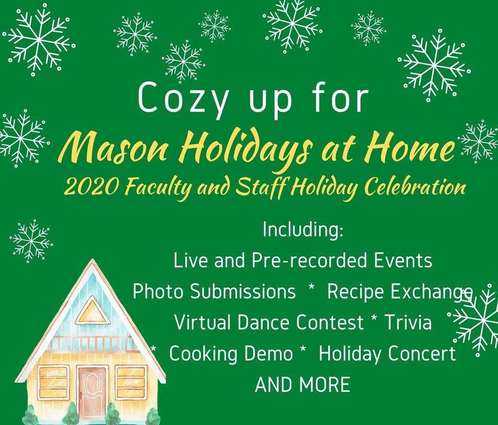 Mason Holidays at Home invitation, showing snowflakes and a cabin
